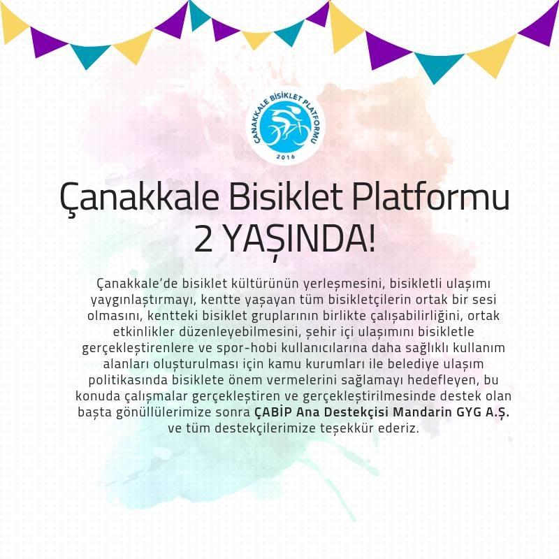 Çanakkale Bisiklet Platformu 2 Yaşında – Kutlama Partisi